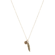 Petite Penny From Heaven with Feather Necklace. Yellow Bronze