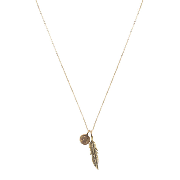 Petite Penny with Feather Necklace Yellow Bronze
