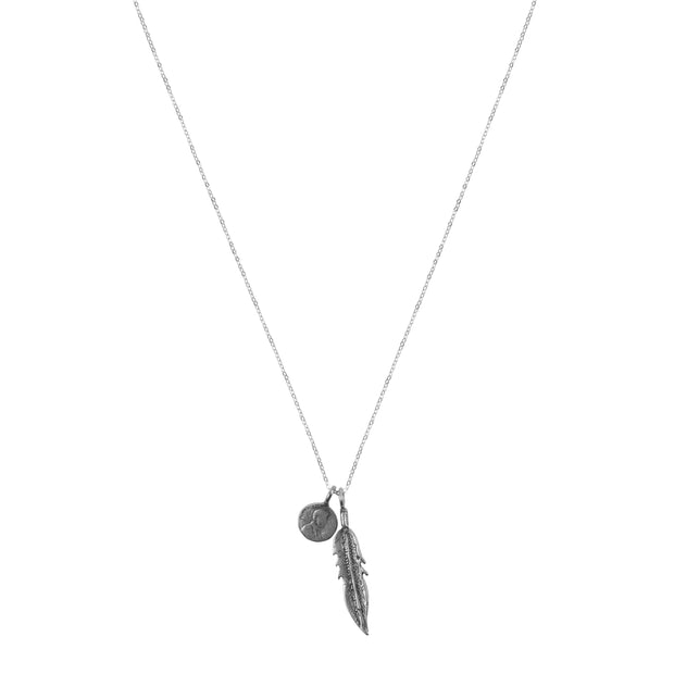 Petite Penny From Heaven with Feather Charm. White Bronze