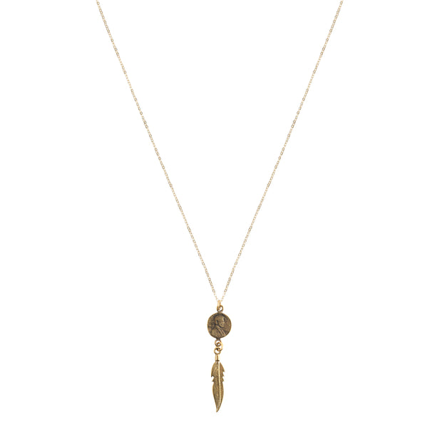Petite Penny with Dangling Feather Necklace Yellow Bronze