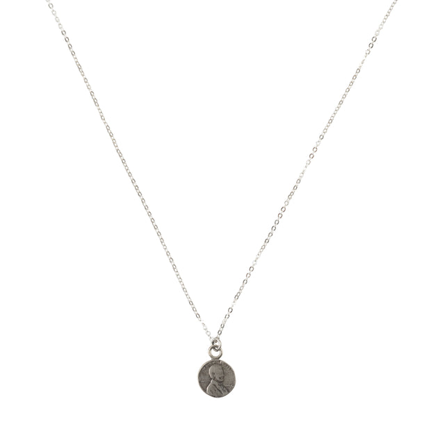 Lucky Petite Penny Necklace White Bronze