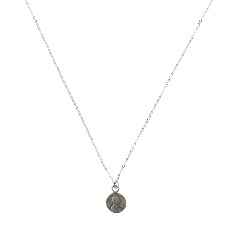 Petite Penny From Heaven Necklace White Bronze
