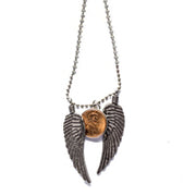 Penny from Heaven Necklace with Wings on Silver Ball Chain