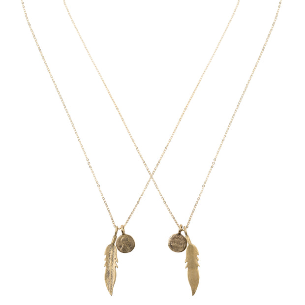 Friendship Necklace with 2 Petite Penny and Feather Necklaces in Yellow Bronze