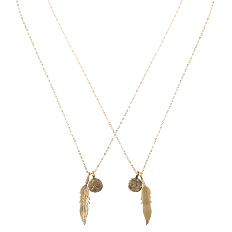 Petite Pennies with Feather Necklace in Yellow Bronze