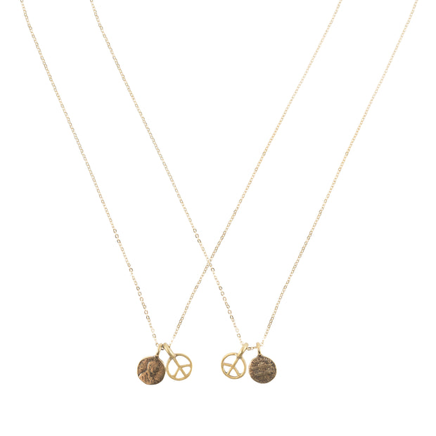 Friendship Necklace with 2 Petite Penny and Peace Sign Necklaces in Yellow Bronze