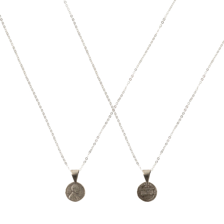 Friendship Necklace with 2 Petite Penny necklaces in White Bronze
