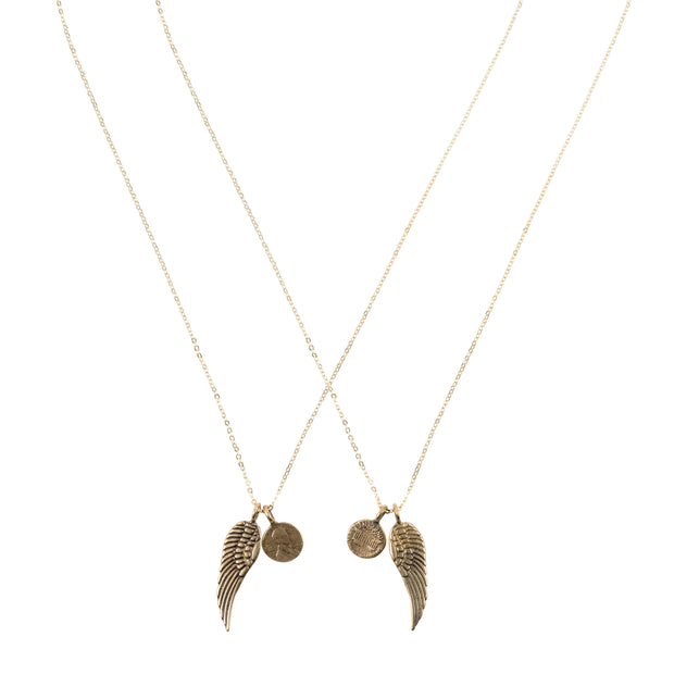 Friendship Necklace with 2 Petite Penny and Wing Necklaces in Yellow Bronze