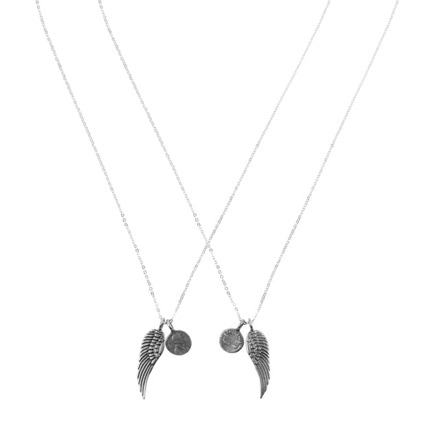 Friendship Necklace with 2 Petite Penny and Wing Necklaces in White Bronze