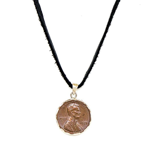 Black Deerskin Leather Penny From Heaven Pendant