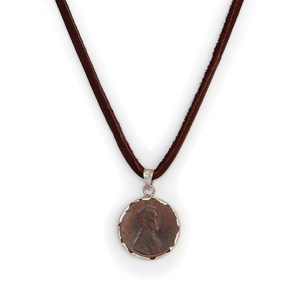 Brown Deerskin Leather Penny From Heaven Sterling Pendant