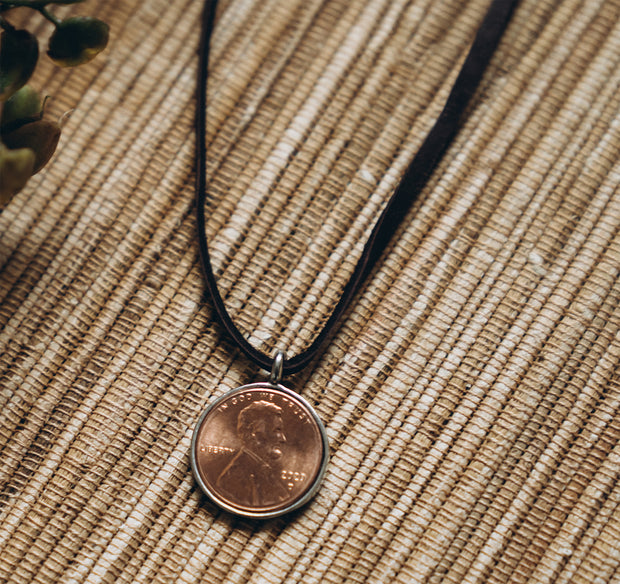 Penny from Heaven Single Penny Necklace on Leather Cord