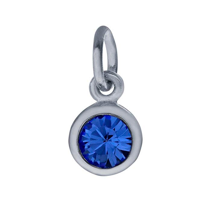 Sterling Petite Penny with Sterling Silver Birthstone Charm with Swarovski® Crystal- September