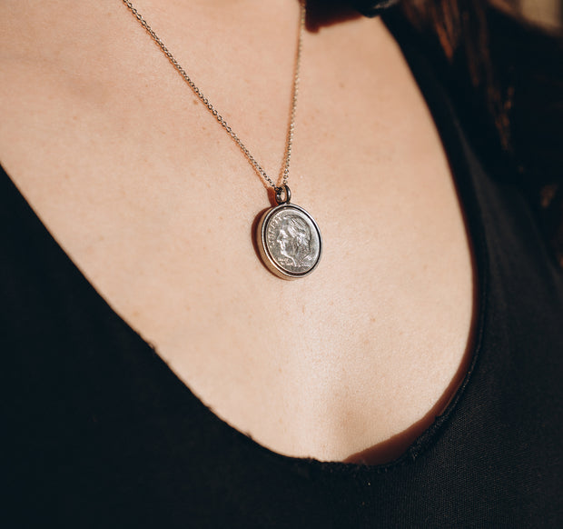"Heavenly Dime Necklace on 24"" ball chain"