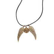 Petite Penny and  Wings Necklace Yellow Bronze on Leather Cord