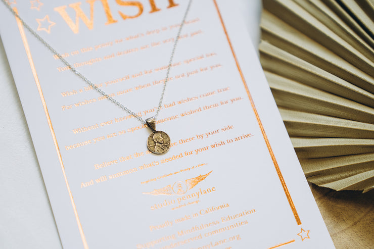 Petite Wish Penny Necklace Yellow Bronze