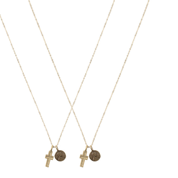 Friendship Necklace with 2 Petite Penny and Cross Necklaces in Yellow Bronze