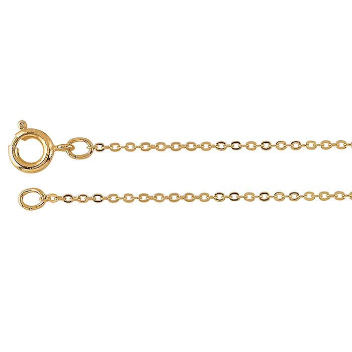 "Dainty 18"" Gold plated brass flat cable chain."