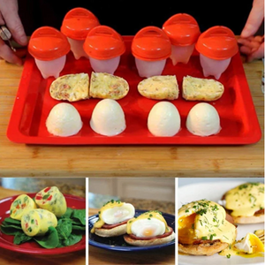 Silicone Egg Cooker-Hard Boiled Egg Maker with Egg Holder,Boiled Eggs Without the Egg Shell(Pack of 6)