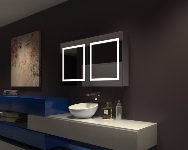 Illuminated Mirror Glass Cabinet: Dimmable Lighted Cabinet Harmony