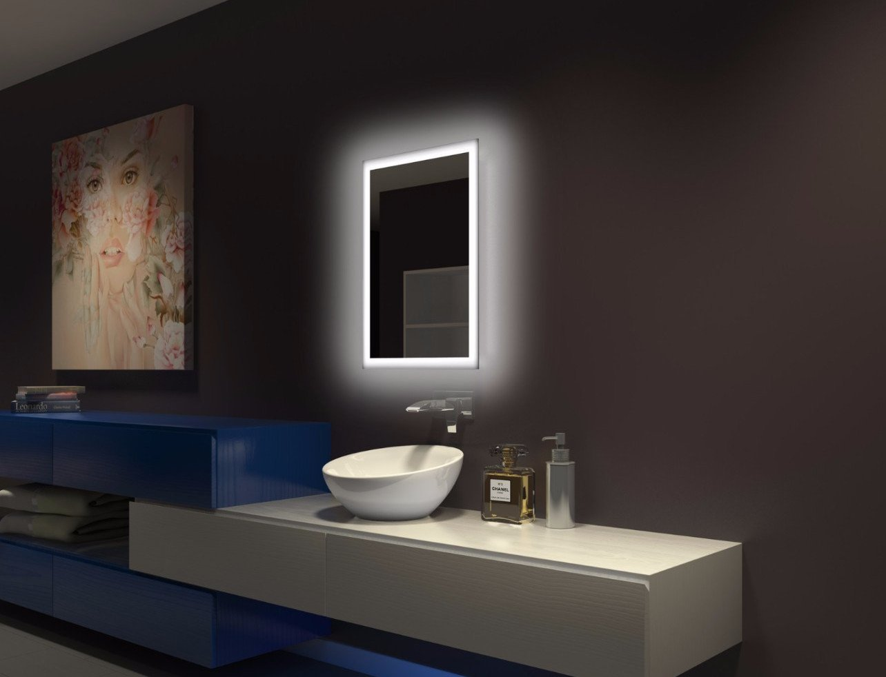 Halo Wide Led Light Bathroom Mirror: Dimmable Backlit Mirror Rectangle