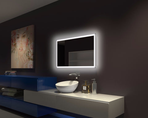 Dimmable Backlit Bathroom Mirror Rectangle 40 x 24