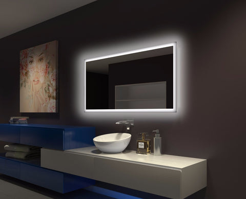 Dimmable Backlit Bathroom Mirror Rectangle 55 X 28