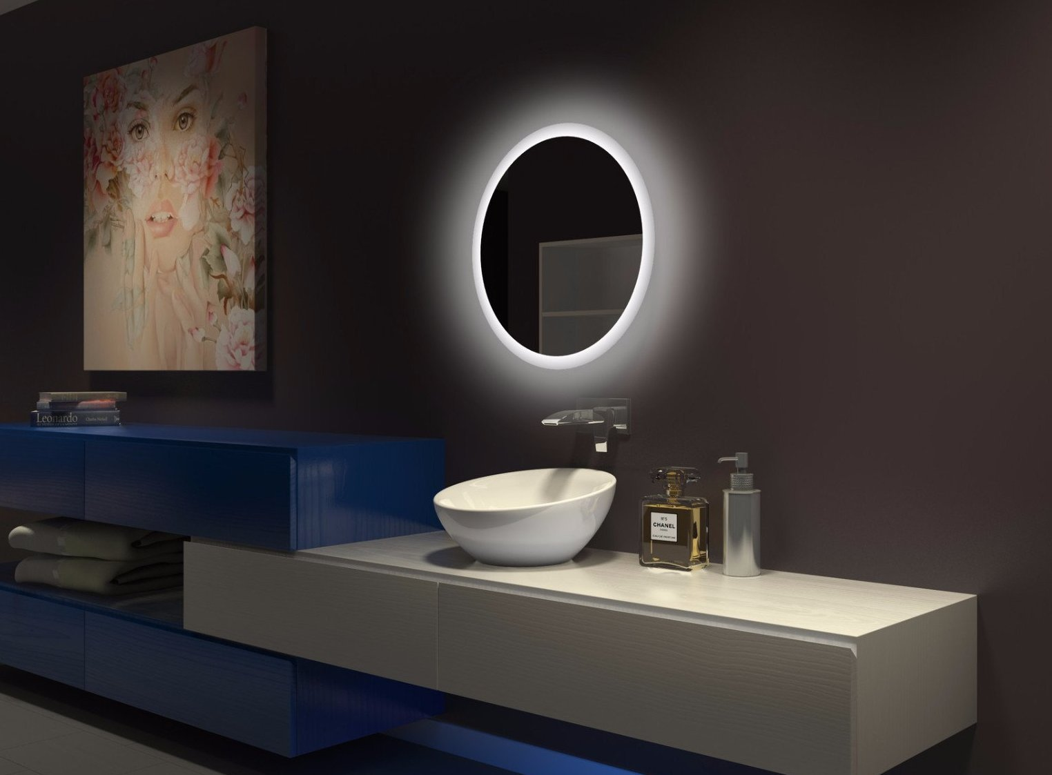 Dimmable Round Backlit Mirror