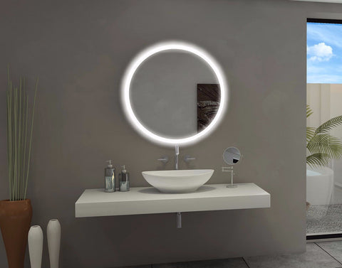 BACKLIT BATHROOM LIGHTED MIRROR ROUND 32 X 32 in