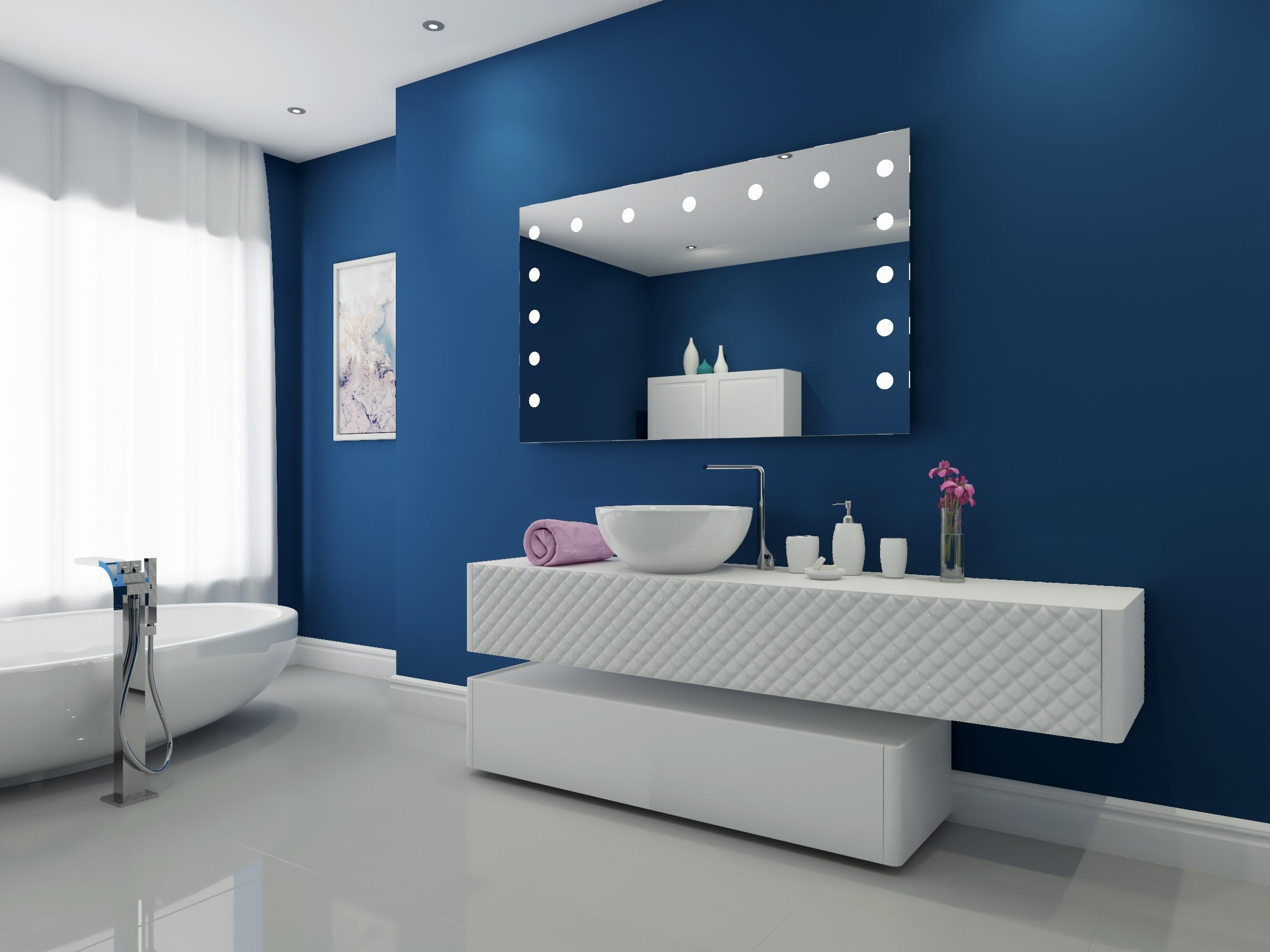 Led Bathroom Mirror Hollywood 60 X 36 In Paris Mirror