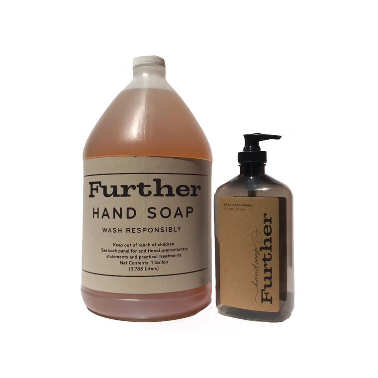 1 gallon - Further Soap Refill + an empty 16oz bottle ($10 per gallon supports Help Feed the Frontline LA / online exclusive)