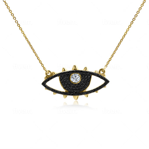 handcrafted evil eye pendant necklace for negative energy protection on 24k gold plated on sterling silver and natural zircon stones.