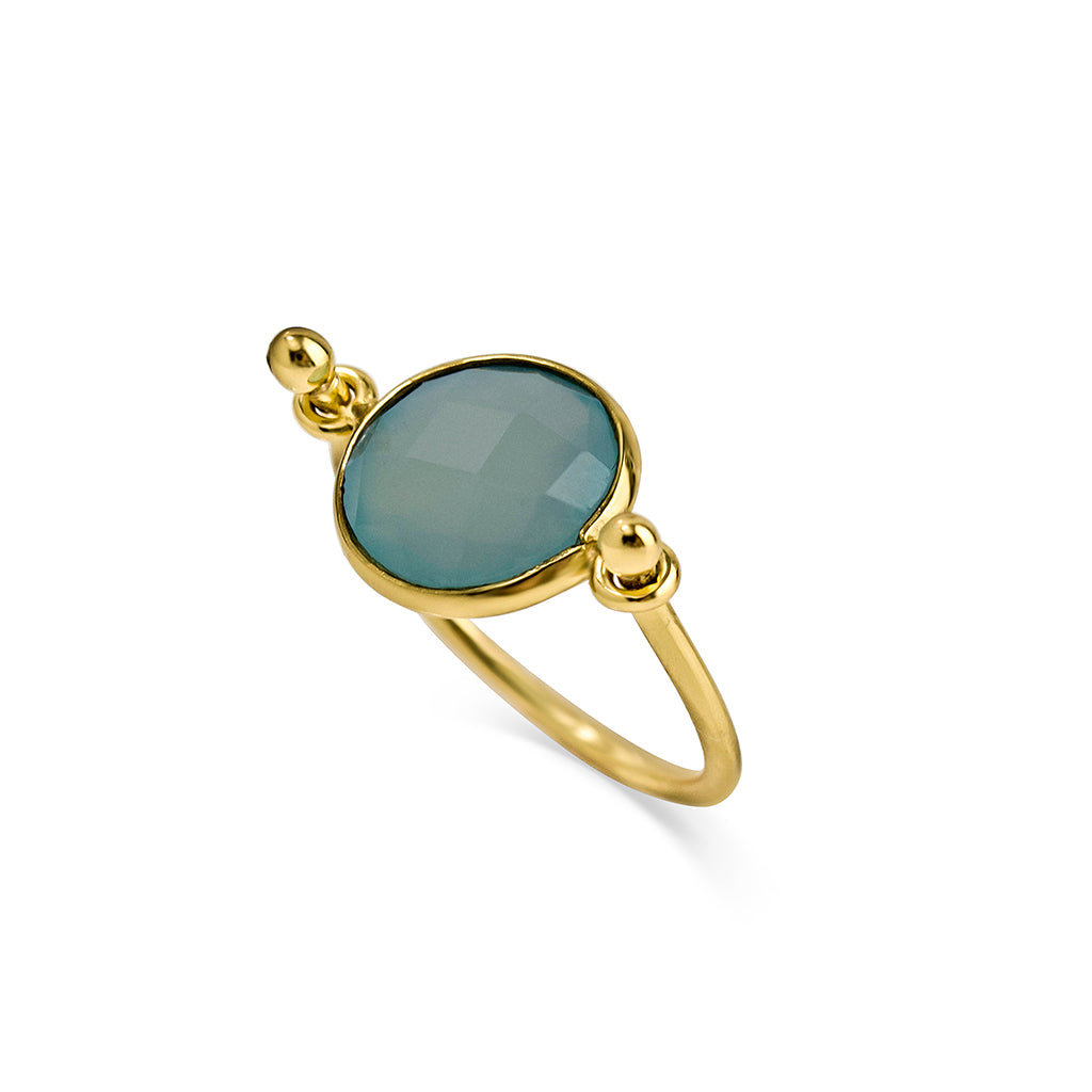 Aqua chalcedony stone sets on a 24k gold plated handcrafted ring made in London for energy healing purposes