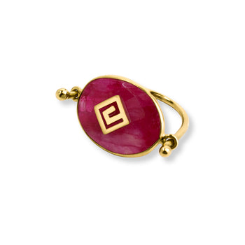 Meandros Balance Ruby Ring - SilaDea Jewelry