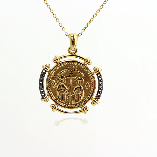 Constantine Double side Coin Necklace - SilaDea Jewelry
