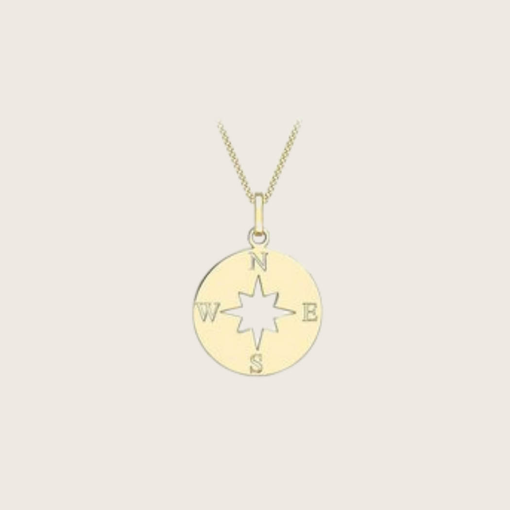 9ct Compass Charm Necklace - SilaDea Jewelry