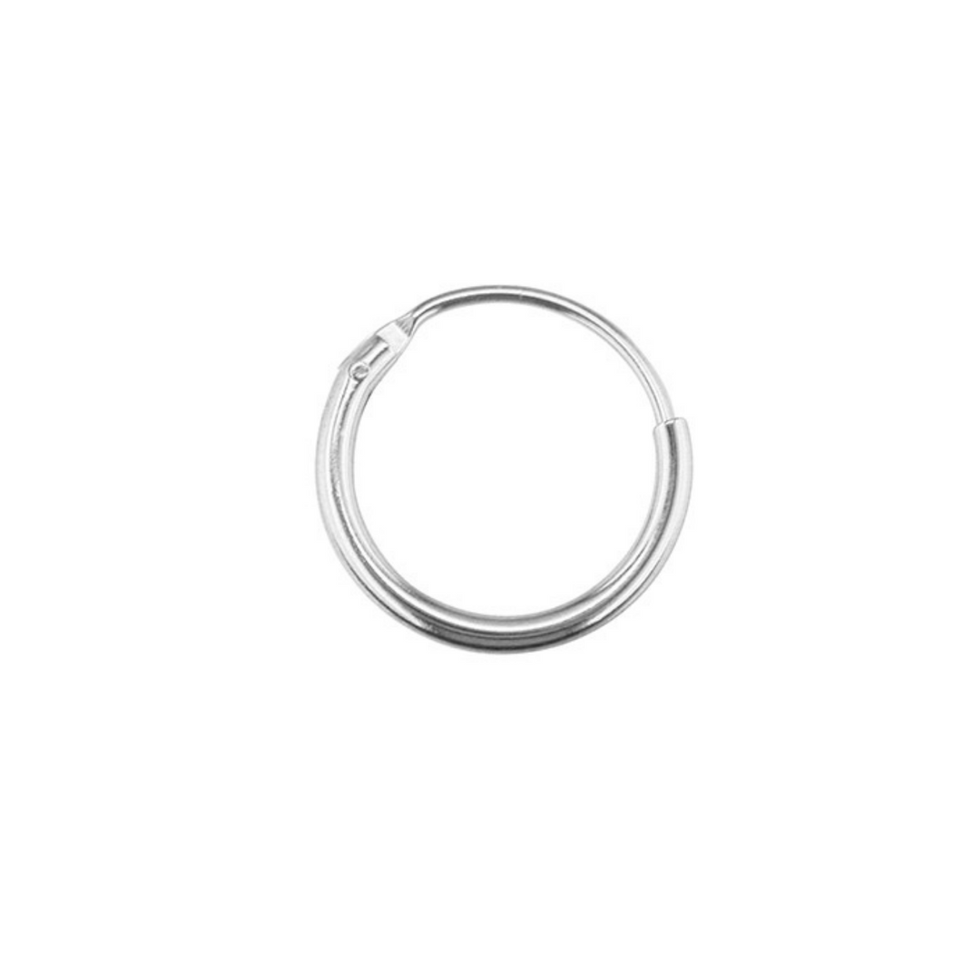 9ct White Gold Creole Hoop - SilaDea Jewelry