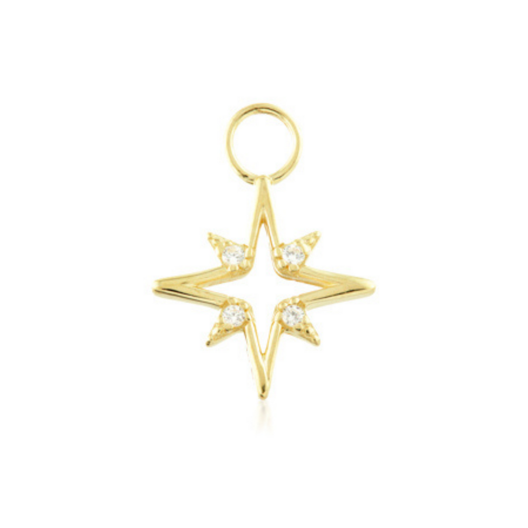 9k Gold Hollow North Star Charm - SilaDea Jewellery
