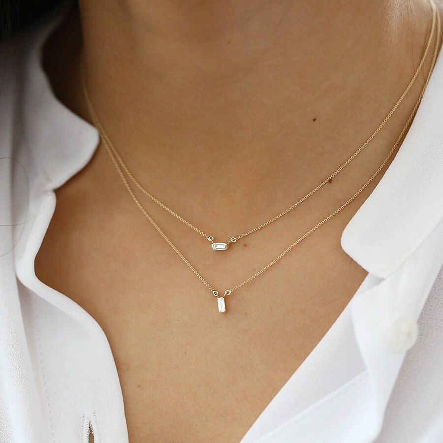 14k Careè Moissanite Necklace-Women - Jewellery - Necklaces-SILADEA