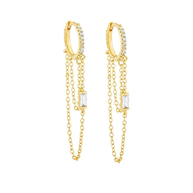 Careè Chain Hoop Earrings-Women - Jewelry - Earrings-SILADEA
