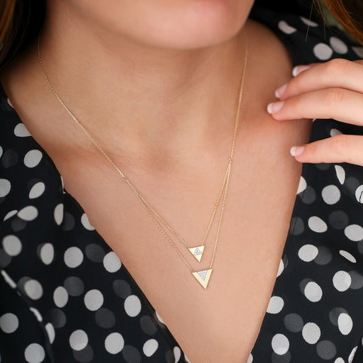 14k Tringle Necklace-Women - Jewellery - Necklaces-SILADEA