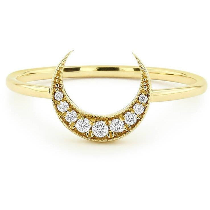 14K DIONE DIAMOND MOON RING-Women - Jewellery - Rings-SILADEA