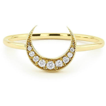 14K Moon Diamond Ring-Women - Jewellery - Rings-SILADEA