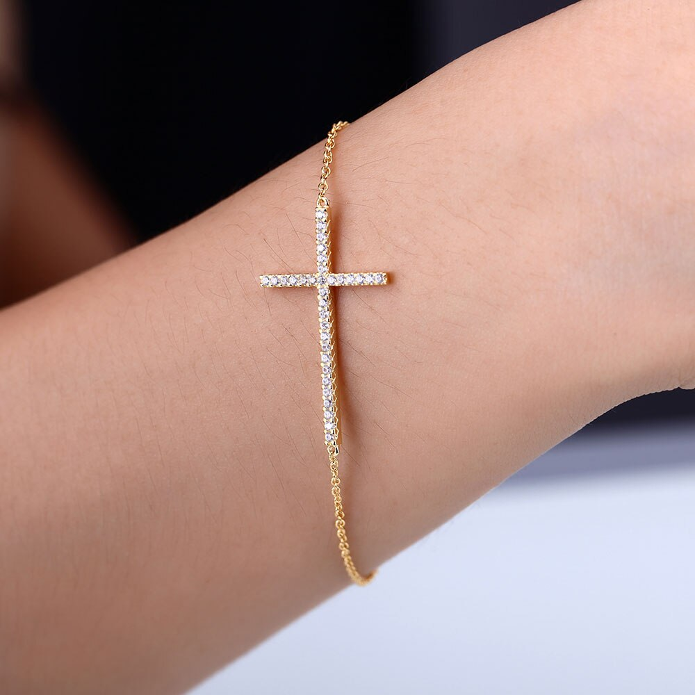 White Topaz Cross Bracelet-Men - Jewelry - Bracelets-SILADEA