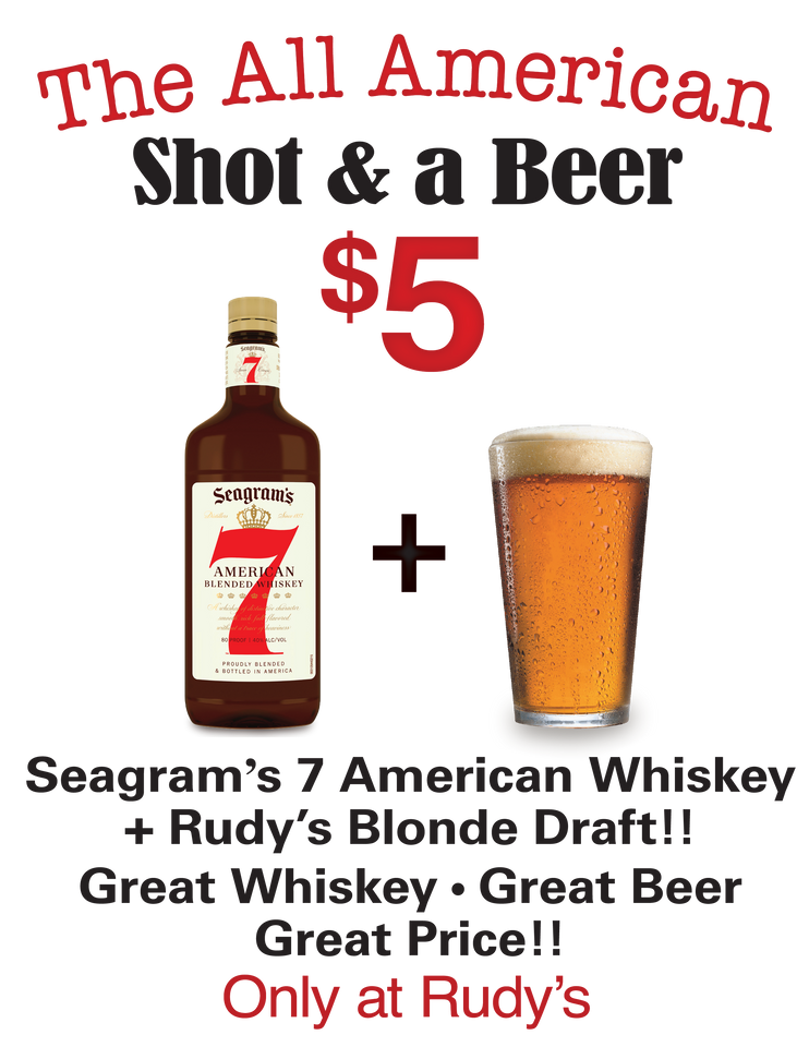 "$5 Shot & Beer Special ""The All American"""