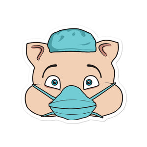 Nurse Masked Hero Pig Head Sticker - Rudys Bar & Grill