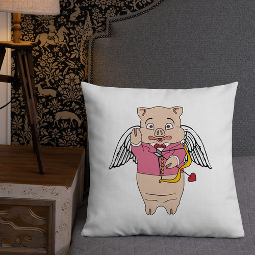Cupid Pig + Neon Sign Valentine's Pillow - Rudys Bar & Grill
