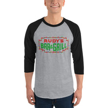 Load image into Gallery viewer, Christmas Neon Sign 3/4 sleeve raglan - Rudys Bar & Grill