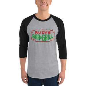 Christmas Neon Sign 3/4 sleeve raglan - Rudys Bar & Grill