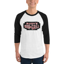 Load image into Gallery viewer, Black Neon Sign 3/4 Sleeve Raglan Shirt - Rudys Bar & Grill